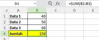 Fungsi Penjumlahan Excel 2