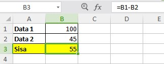 Rumus Pengurangan Excel 2